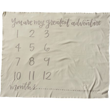 "Milestone Blanket - You Are My Greatest Adventure - 42"" x 36"" - Cotton"