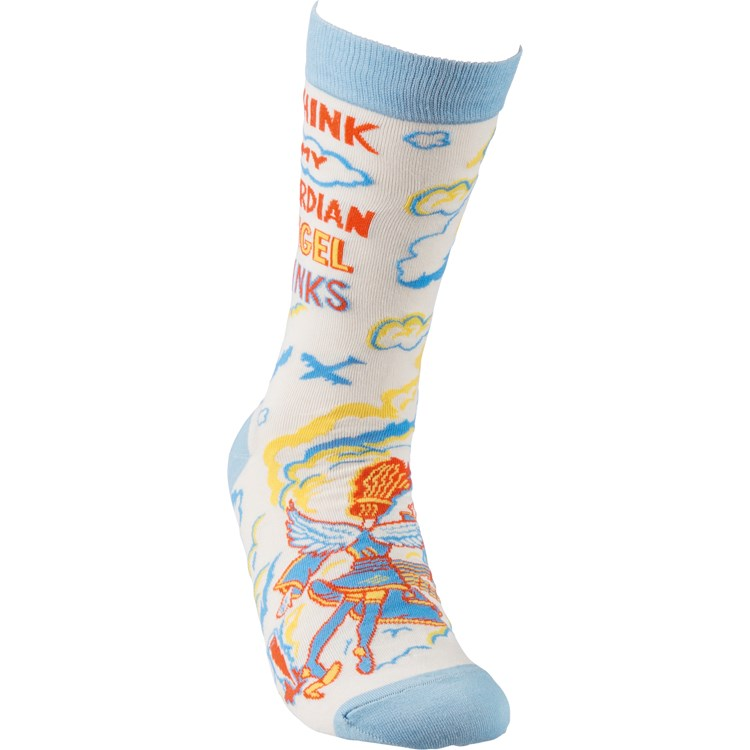 Socks - I Think My Guardian Angel Drinks - One Size Fits Most - Cotton, Nylon, Spandex