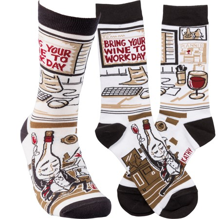 Socks - Bring Your Wine To Work Day - One Size Fits Most - Cotton, Nylon, Spandex