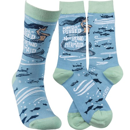 Socks - Kinda' Pissed About Not Being A Mermaid - One Size Fits Most - Cotton, Nylon, Spandex