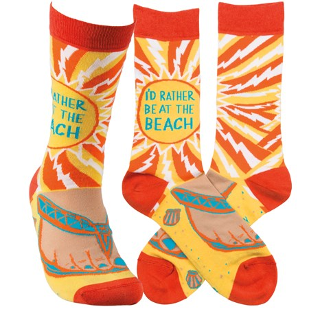 Socks - I'd Rather Be At The Beach - One Size Fits Most - Cotton, Nylon, Spandex