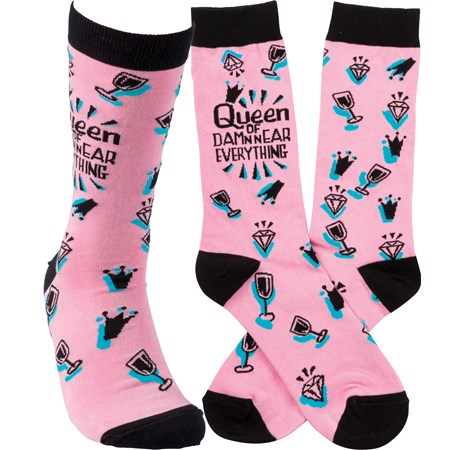 Socks - Queen Of Damn Near Everything - One Size Fits Most - Cotton, Nylon, Spandex