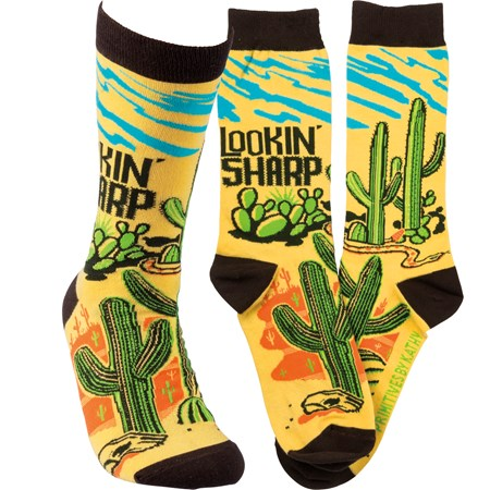 Socks - Lookin' Sharp - One Size Fits Most - Cotton, Nylon, Spandex