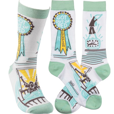 Socks - Got Out Of Bed Champion - One Size Fits Most - Cotton, Nylon, Spandex