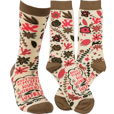 Socks - I Think To Myself What A Wonderful World - One Size Fits Most - Cotton, Nylon, Spandex