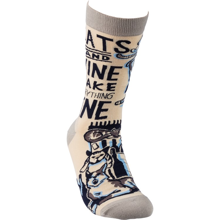 Socks - Cats And Wine Everything Fine - One Size Fits Most - Cotton, Nylon, Spandex