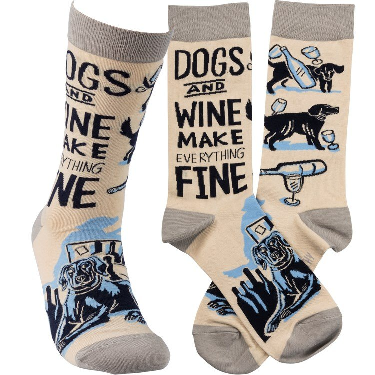 Socks - Dogs And Wine Everything Fine - One Size Fits Most - Cotton, Nylon, Spandex