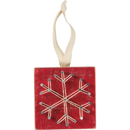"String Art Ornament - Red Snowflake - 3"" x 3"" - Wood, Metal, String, Fabric"
