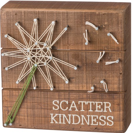 "String Art -Scatter Kindness - 6"" x 6"" x 1.75"" - Wood, Metal, String"