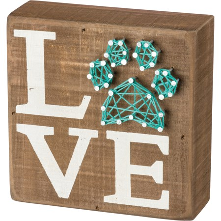 "String Art - Pet Love - 5"" x 5"" x 1.75"" - Wood, Metal, String"