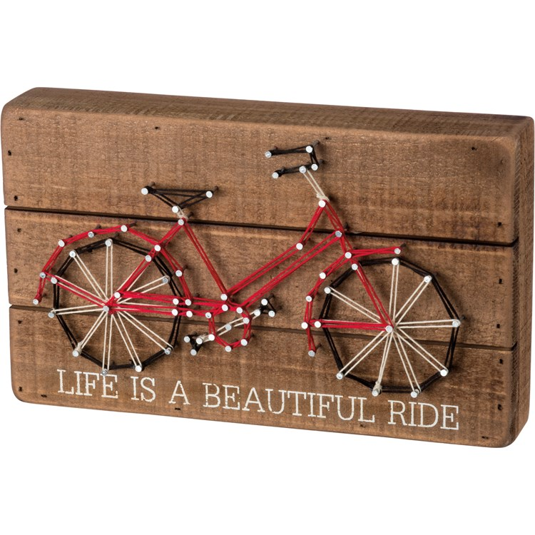 "String Art - Life Is A Beautiful Ride - 10"" x 6"" x 1.75"" - Wood, Metal, String"