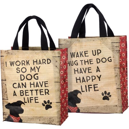 "Daily Tote - Hug The Dog - 8.75"" x 10.25"" x 4.75"" - Post-Consumer Material, Nylon"