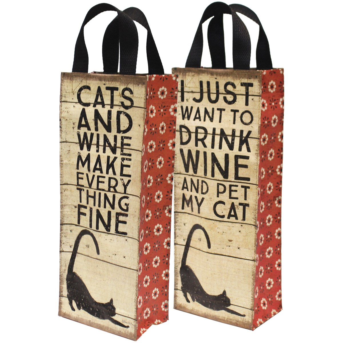 "Wine Tote - Cats and Wine - 5.50"" x 13.75"" x 3.50"" - Post-Consumer Material, Nylon"