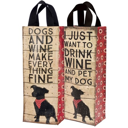 "Wine Tote - Dogs and Wine - 5.50"" x 13.75"" x 3.50"" - Post-Consumer Material, Nylon"