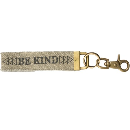 "Keychain - Be Kind - 8.75"" x 1.31"" - Canvas, Metal"