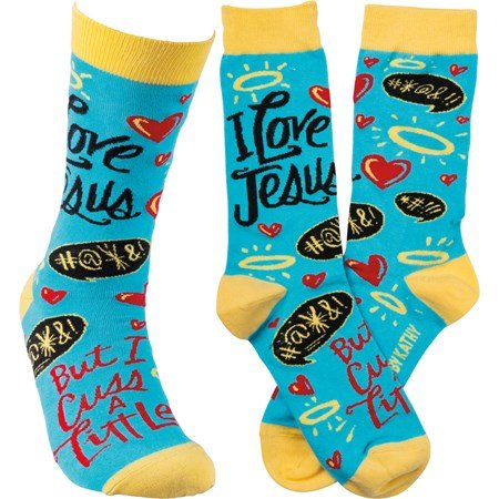 Socks -  I Love Jesus But I Cuss A Little - One Size Fits Most - Cotton, Nylon, Spandex