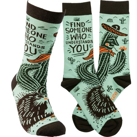 Socks - Find Someone Who Understands You - One Size Fits Most - Cotton, Nylon, Spandex