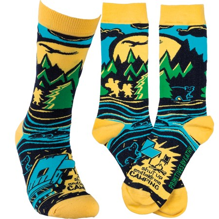 Socks - Shut Up And Take Me Camping - One Size Fits Most - Cotton, Nylon, Spandex
