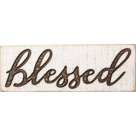 "Carved Sign - Blessed - 15"" x 5.25"" x 1"" - Wood"