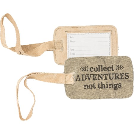 "Luggage Tag - Adventures - 5.25"" x 3.25"" - Canvas, Plastic"