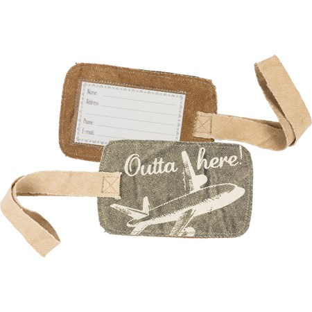"Luggage Tag - Outta Here - 5.25"" x 3.25"" - Canvas, Plastic"
