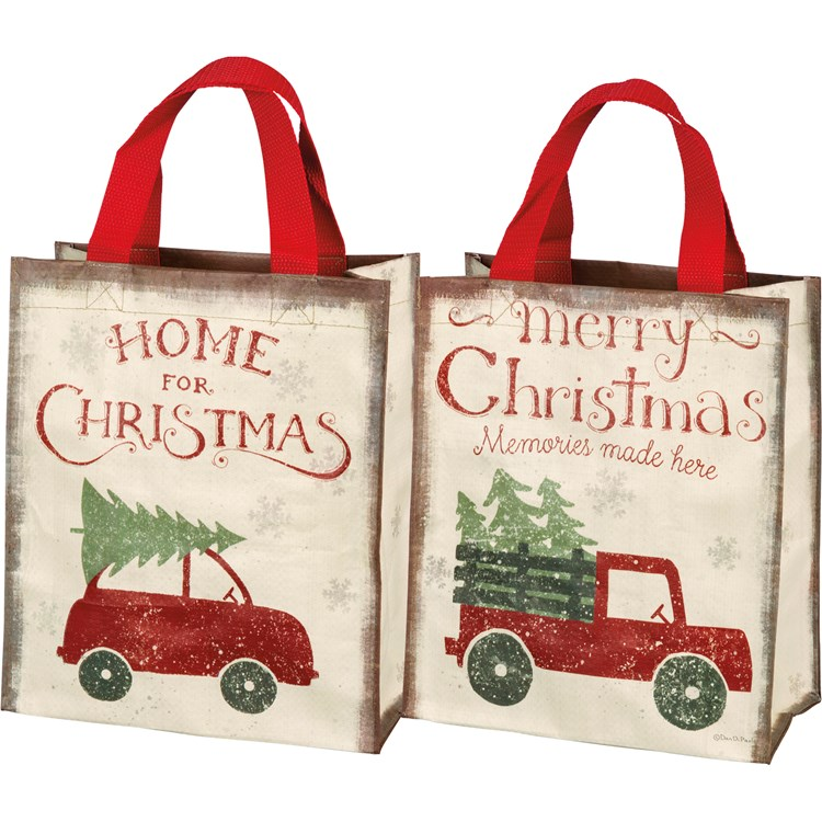 "Daily Tote - Home For Christmas - 8.75"" x 10.25"" x 4.75"" - Post-Consumer Material, Nylon"