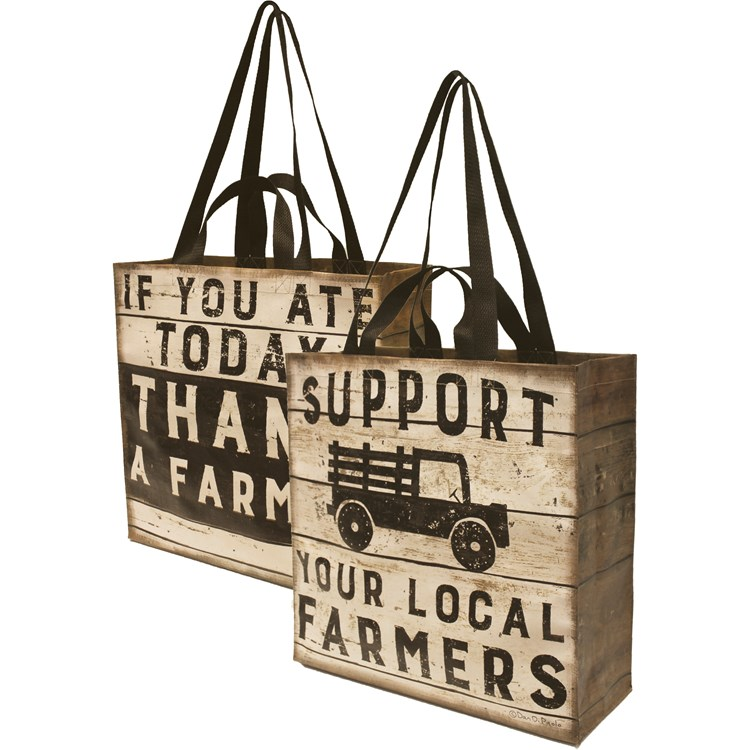 "Market Tote - Support Your Local Farmers - 15.50"" x 15.25"" x 6"" - Post-Consumer Material, Nylon"