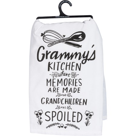 "Dish Towel - Grammy's Kitchen Where Memories - 28"" x 28"" - Cotton"