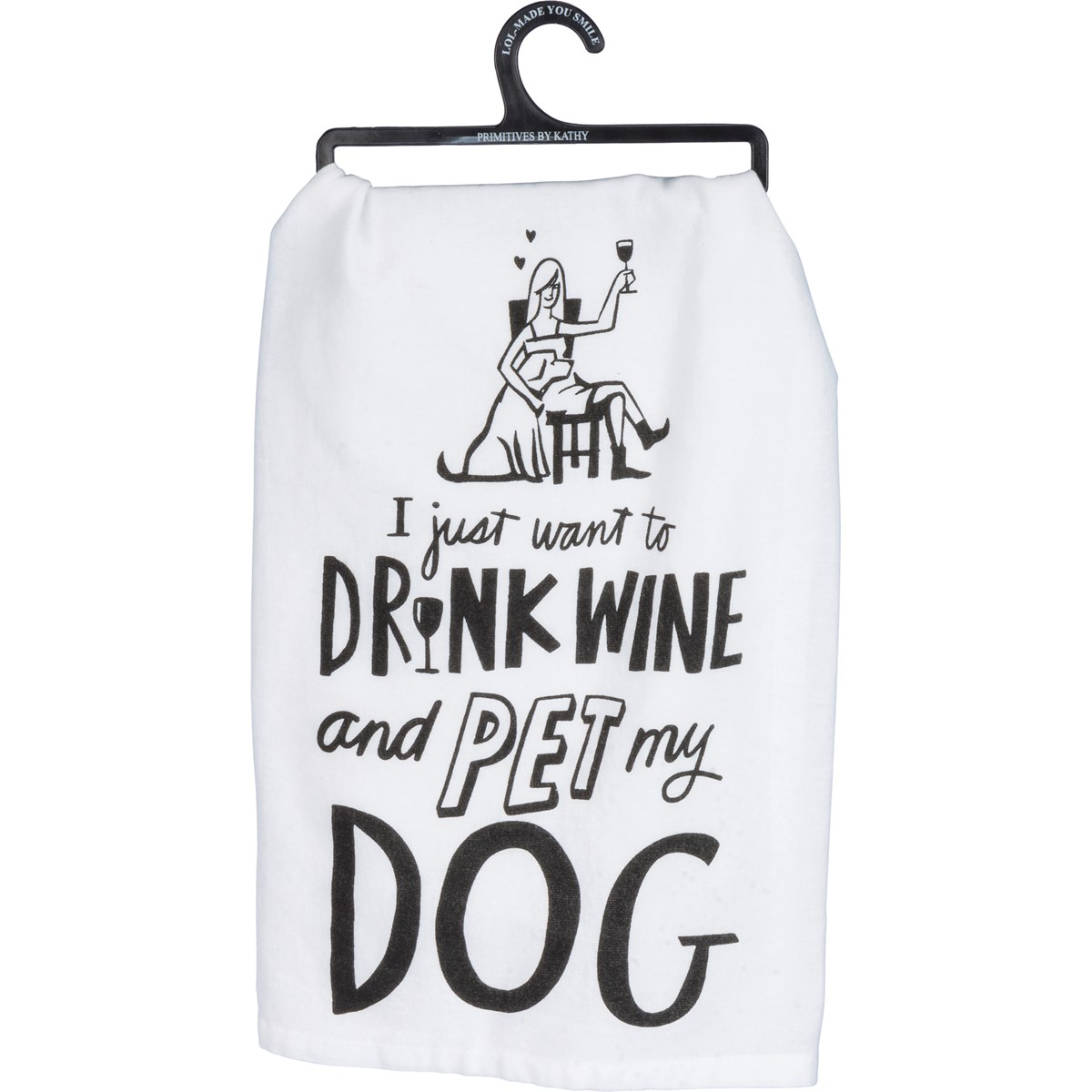 "Dish Towel - Drink Wine and Pet My Dog - 28"" x 28"" - Cotton"