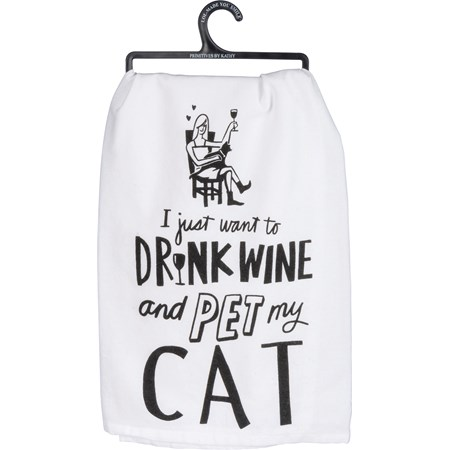 "Dish Towel - Drink Wine And Pet My Cat - 28"" x 28"" - Cotton"