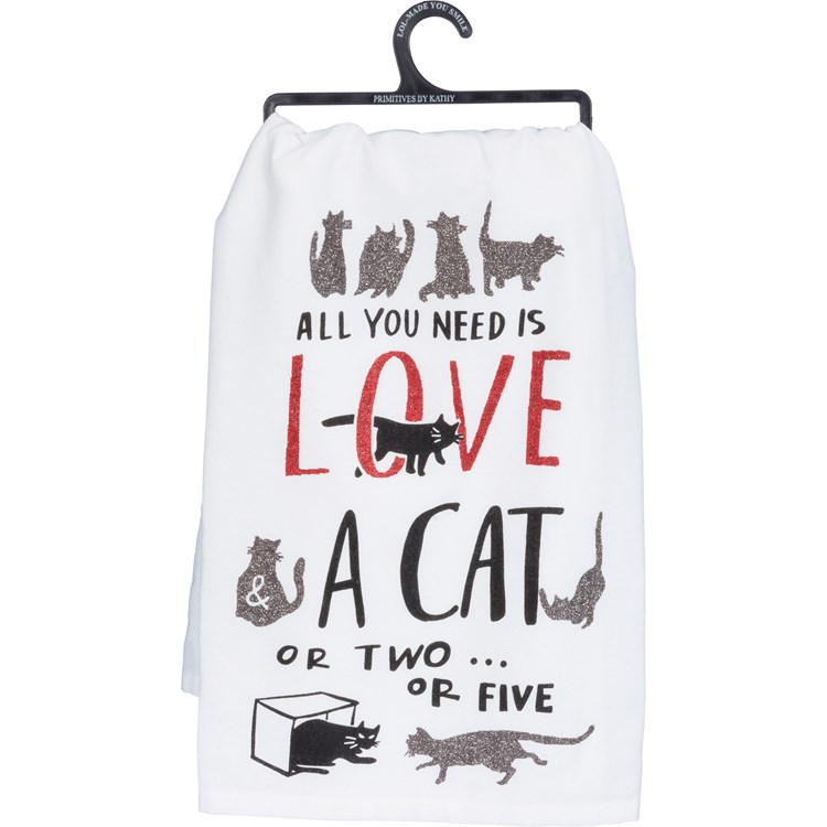 "Dish Towel - All you Need Is Love And A Cat Or Two - 28"" x 28"" - Cotton, Glitter"