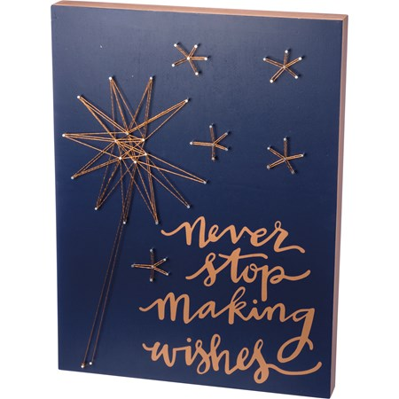 "String Art - Never Stop Making Wishes - 15"" x 20"" x 1.75"" - Wood, Metal, String"