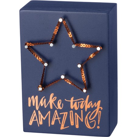 "String Art - Make Today Amazing - 3.50"" x 5"" x 1.75"" - Wood, Metal, Sequins"