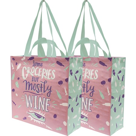 "Market Tote - Some Groceries But Mostly Wine - 15.50"" x 15.25"" x 6"" - Post-Consumer Material, Nylon"