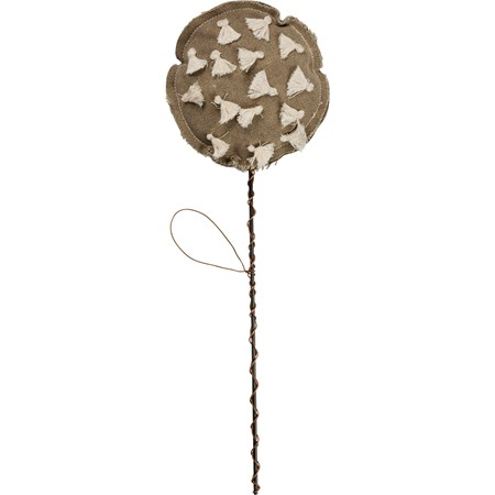 "Knotted Flower On Metal Stem - 4.75"" Diameter, 9"" Tall Pick - Canvas, Metal, Wire, String"