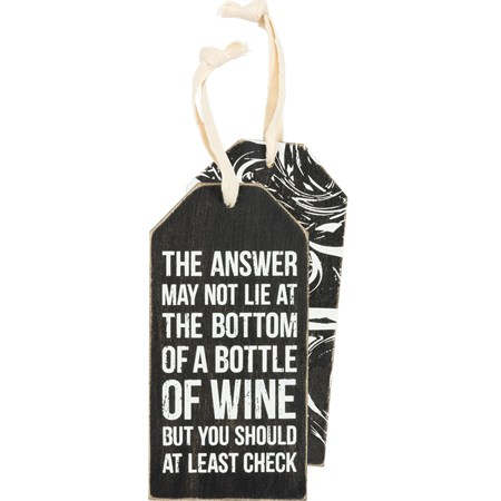 "Bottle Tag - Bottle Of Wine  - 3"" x 6"" - Wood, Fabric"
