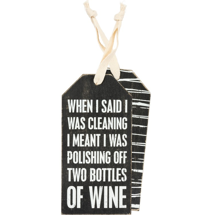 "Bottle Tag - Cleaning  - 3"" x 6"" - Wood, Fabric"