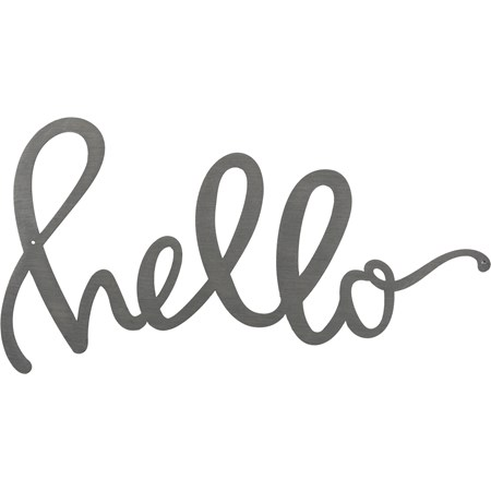 "Metal Word - Hello - 11"" x 6"" - Metal"