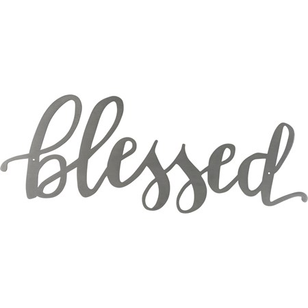"Metal Word - Blessed  - 15"" x 5.50"" - Metal"