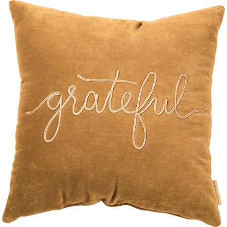 "Pillow - Grateful - 18"" x 18"" - Velvet"