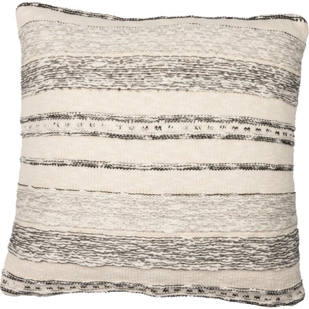 "Pillow - Cream with Black and Gray Stripe - 18"" x 18"" - Cotton"
