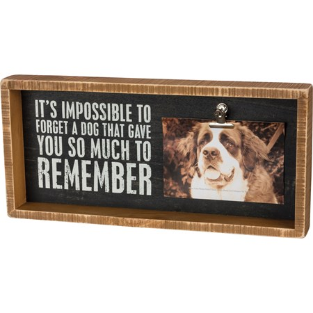 "Inset Box Frame - It's Impossible To Forget A Dog - 15"" x 7"" x 2"", Fits 6"" x 4"" Photo - Wood, Metal"