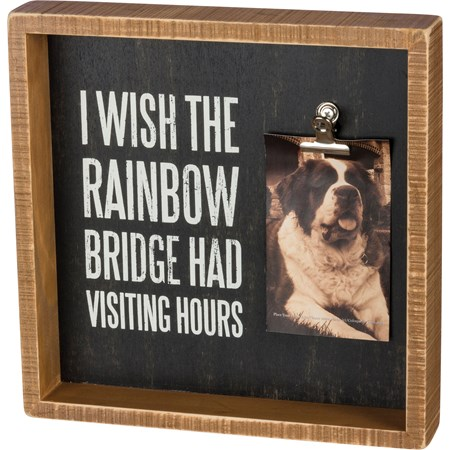 "Inset Box Frame - I Wish The Rainbow Bridge - 10"" x 10"" x 2"", Fits 4"" x 6"" Photo - Wood, Metal"