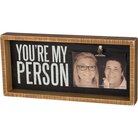 "Inset Box Frame - You're My Person - 15"" x 7"" x 2"", Fits 6"" x 4"" Photo - Wood, Metal"