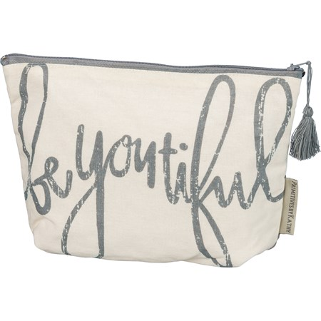 "Zipper Pouch - Be You Tiful - 9.75"" x 6.50"" x 2"" - Cotton, Metal"