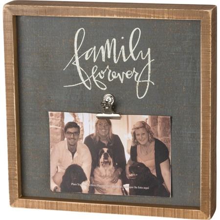 "Inset Box Frame - Family Forever - 10"" x 10"" x 2"", Fits 6"" x 4"" Photo - Wood, Metal"