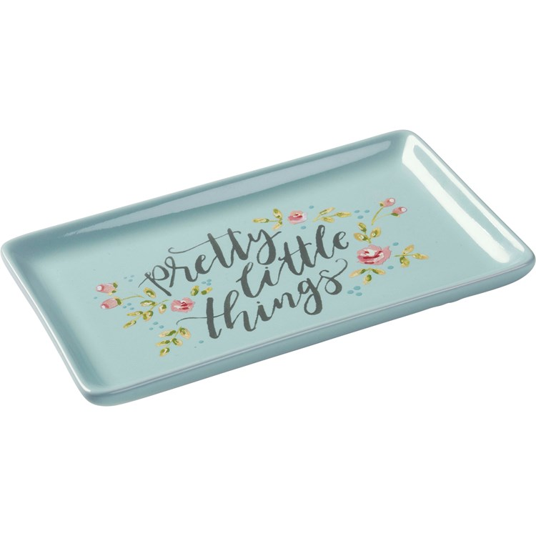 "Trinket Tray - Pretty Little Things - 6.75"" x 4.25"" x 0.75"" - Stoneware"