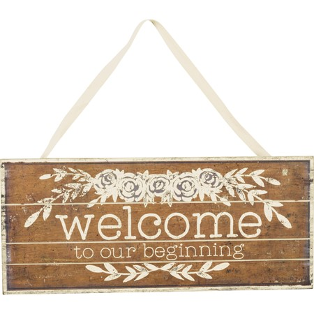 "Slat Sign - Welcome - 18.50"" x 8"" x 0.25"" - Wood, Paper, Fabric"