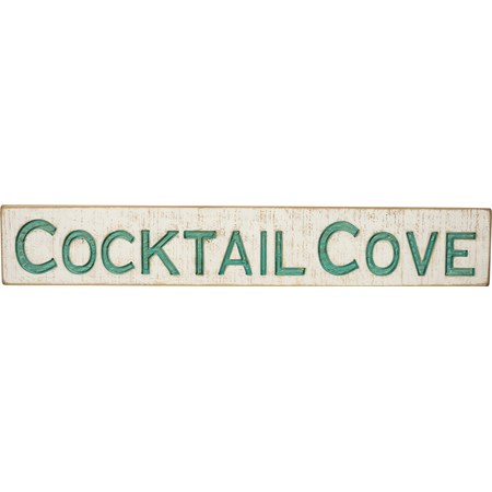 "Carved Sign - Cocktail Cove - 32"" x 5.25"" x 1"" - Wood"