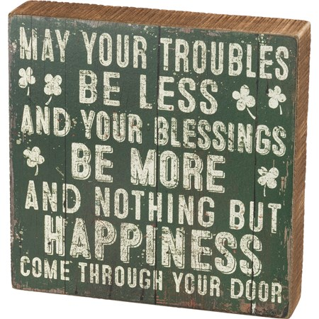 "Box Sign - Troubles Be Less Your Blessings Be More - 8"" x 8"" x 1.75"" - Wood, Paper"
